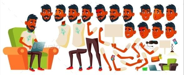 Teen Boy Vector. Indian, Hindu. Asian. Animation - People Characters