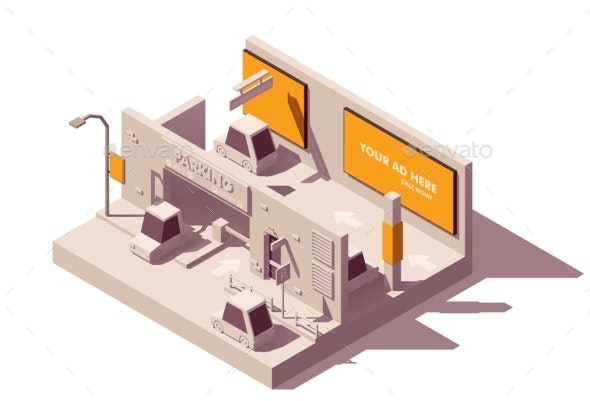 Vector Isometric Advertising in Parking Lot - Buildings Objects