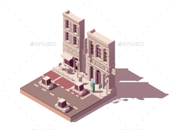 Vector Isometric Street Car Parking - Buildings Objects