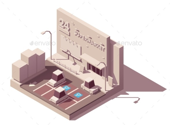 Vector Isometric Supermarket Car Parking Lot - Buildings Objects