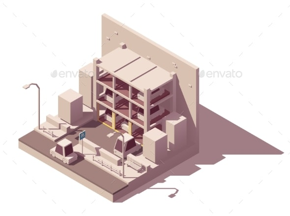 Vector Isometric Automated Car Parking System - Buildings Objects