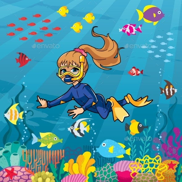 Diver Girl Undersea - Landscapes Nature
