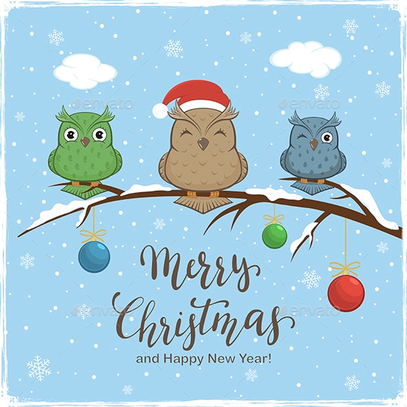 Owls  and Lettering Merry Christmas on Winter Background - Christmas Seasons/Holidays