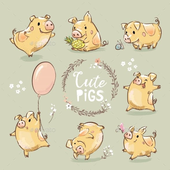 Set of Yellow Pigs in Different Poses