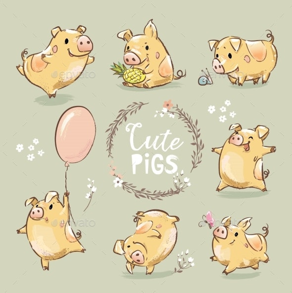 Set of Yellow Pigs in Different Poses - Animals Characters