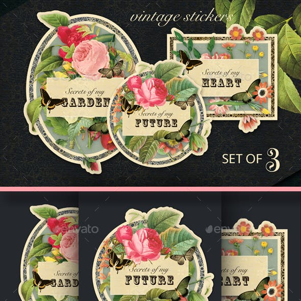 3 Printable Vintage Style Rose Floral Stickers