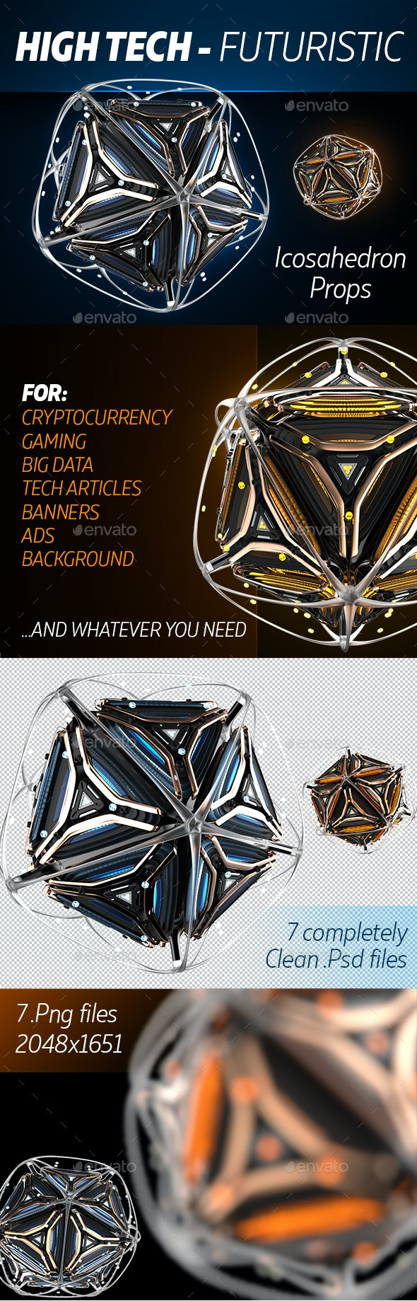 High-Tech Icosahedron Props - Technology 3D Renders