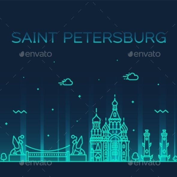 Saint Petersburg Skyline Russia Vector Linear City