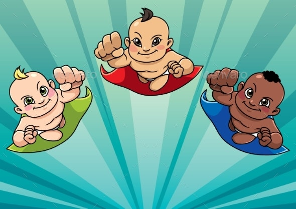 Flying Babies Background - People Characters