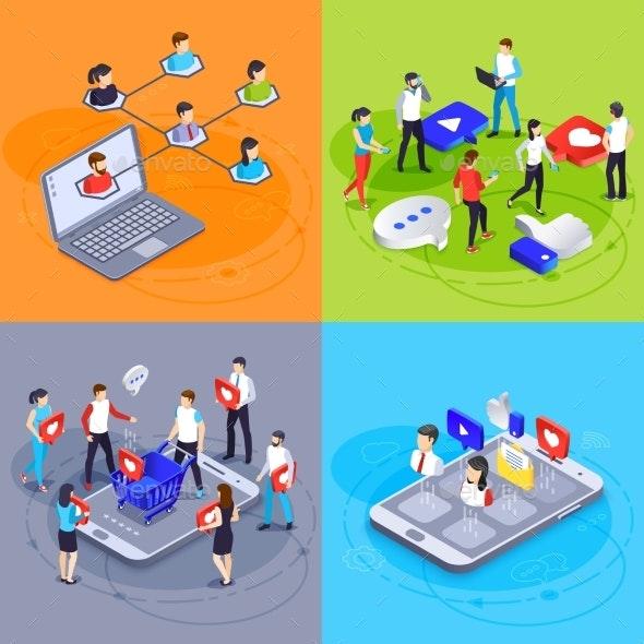 Social Media Isometric Concept Digital Marketing - Concepts Business