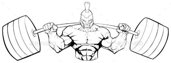 Spartan Gym Mascot Grit Line Art - Sports/Activity Conceptual