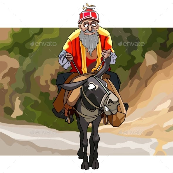 Cartoon Old Man with a Beard Rides a Donkey