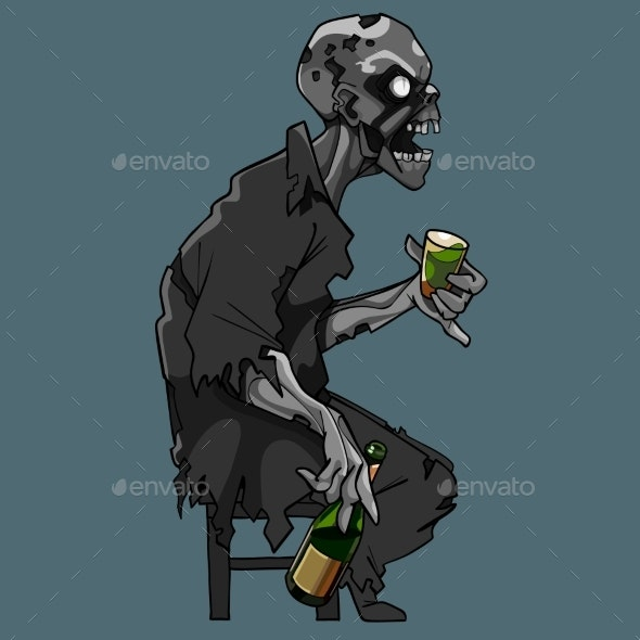 Cartoon Zombie Sitting on a Chair - People Characters