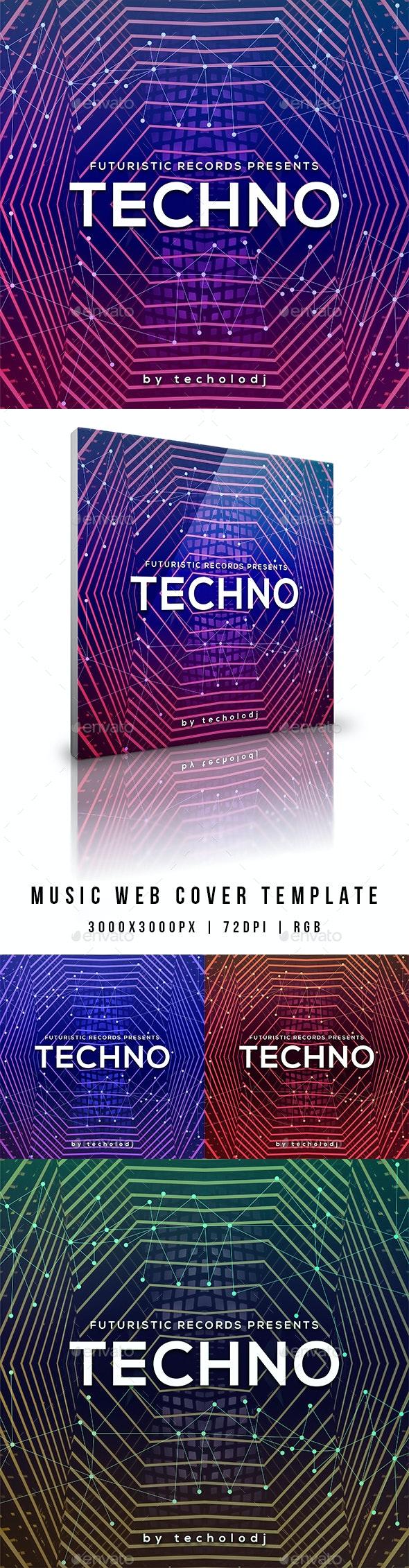 Techno - Music Album Web Cover Template - Miscellaneous Social Media