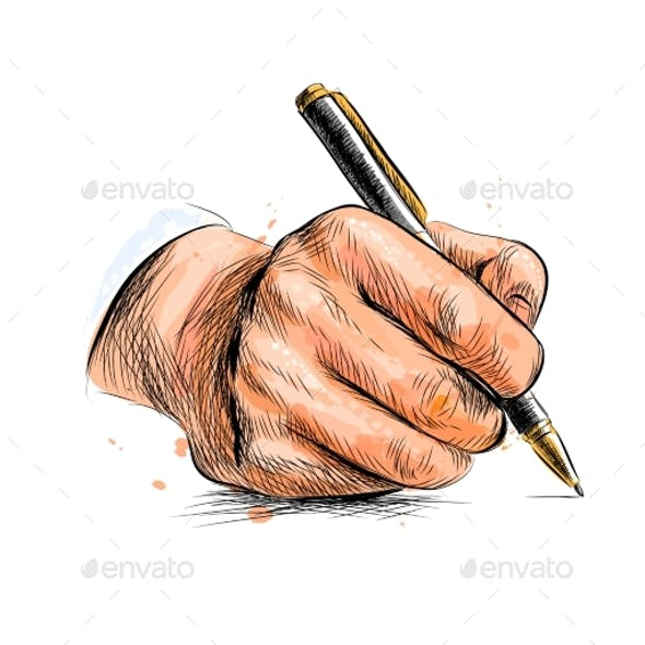 Male Hand with Pen From a Splash of Watercolor
