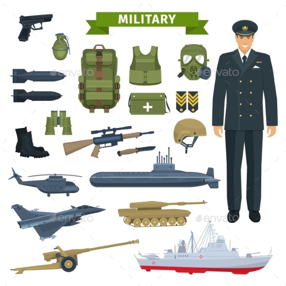 Military Man with Weapon and Personal Equipment - People Characters