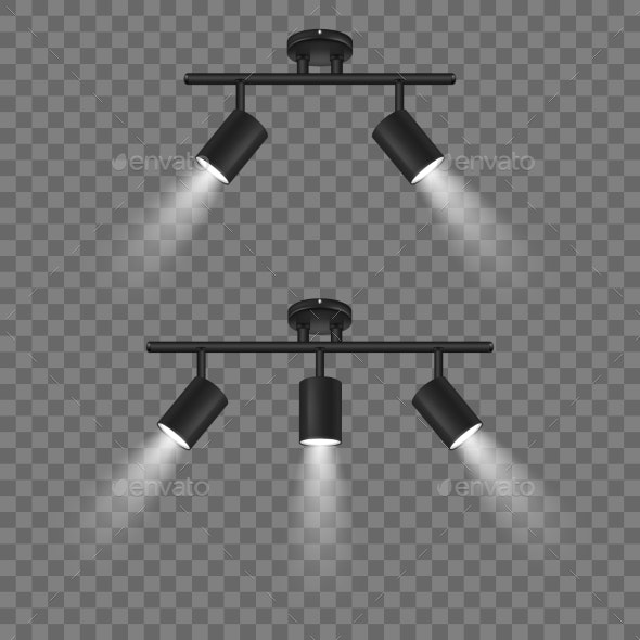 Vector Realistic Black Spotlights Set - Man-made Objects Objects