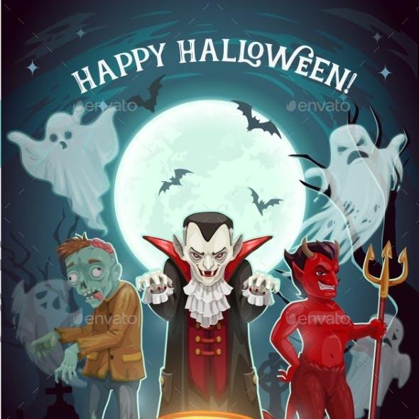 Halloween Pumpkin Vampire and Devil Ghosts