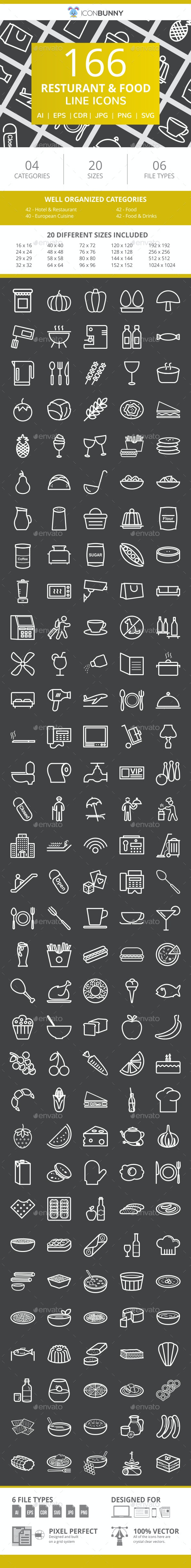166 Restaurant & Food Line Inverted Icons - Icons