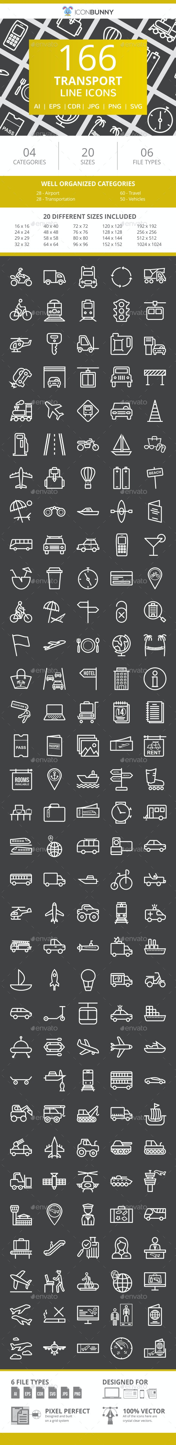 166 Transport Line Inverted Icons - Icons