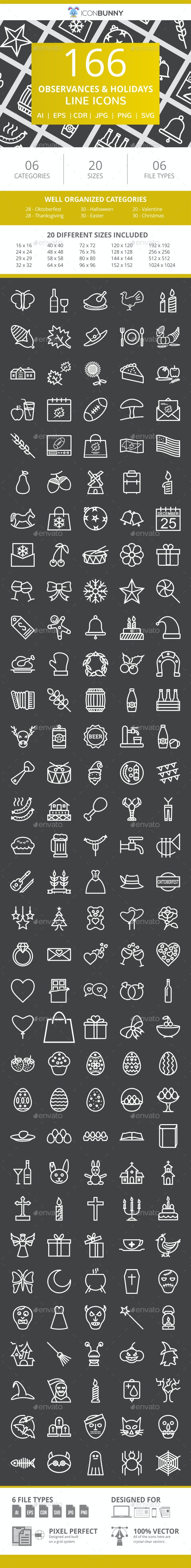 166 Observances & Holiday Line Inverted Icons - Icons