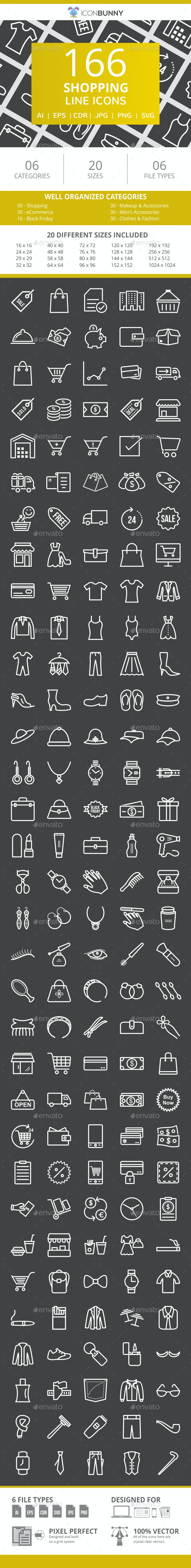 166 Shopping Line Inverted Icons - Icons