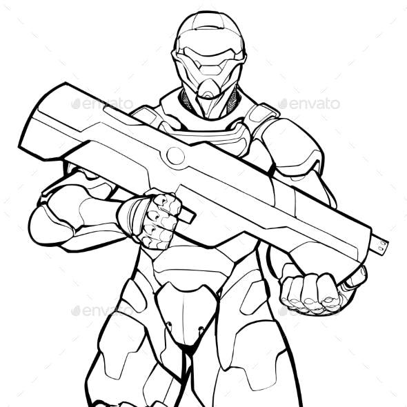 Futuristic Soldier Line Art