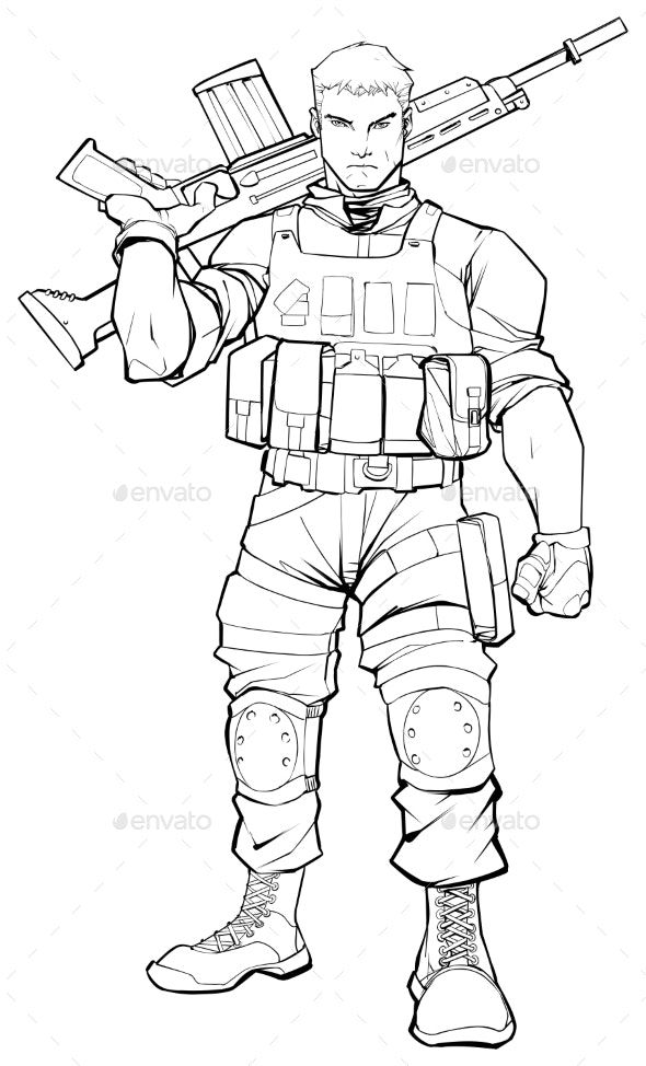 Soldier Line Art - People Characters