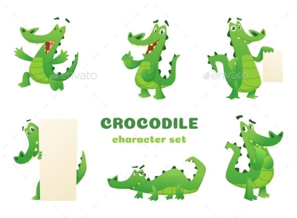 Cartoon Crocodile Characters. Alligator Wild - Animals Characters