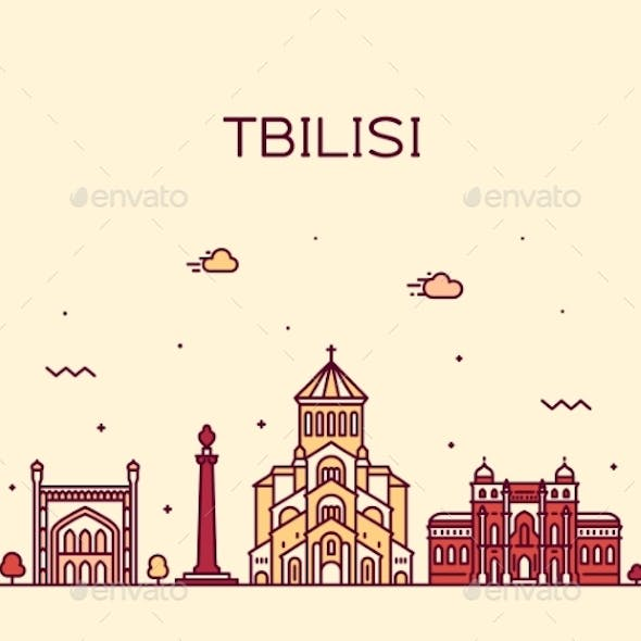 Tbilisi Skyline Georgia Vector Linear Style City