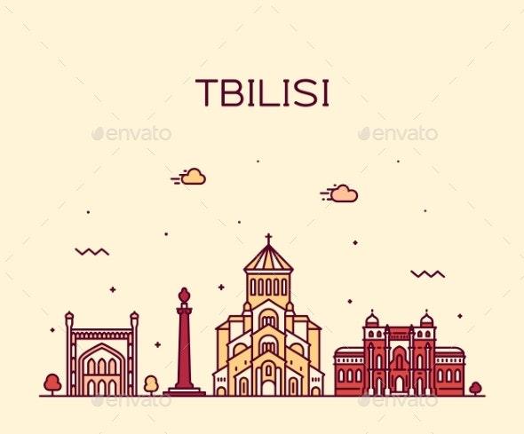 Tbilisi Skyline Georgia Vector Linear Style City - Buildings Objects
