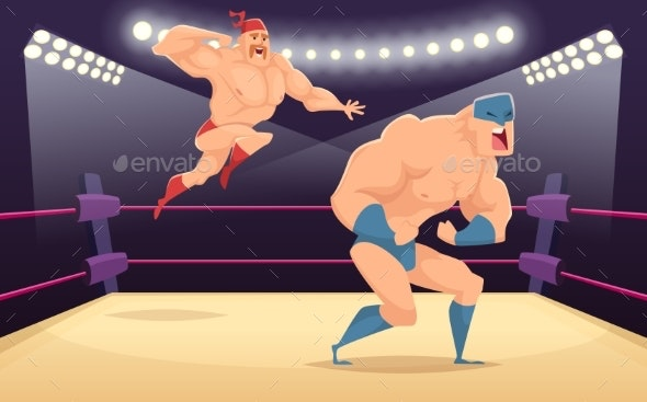 Wrestler Fighters Cartoon. Cartoon Martial - People Characters