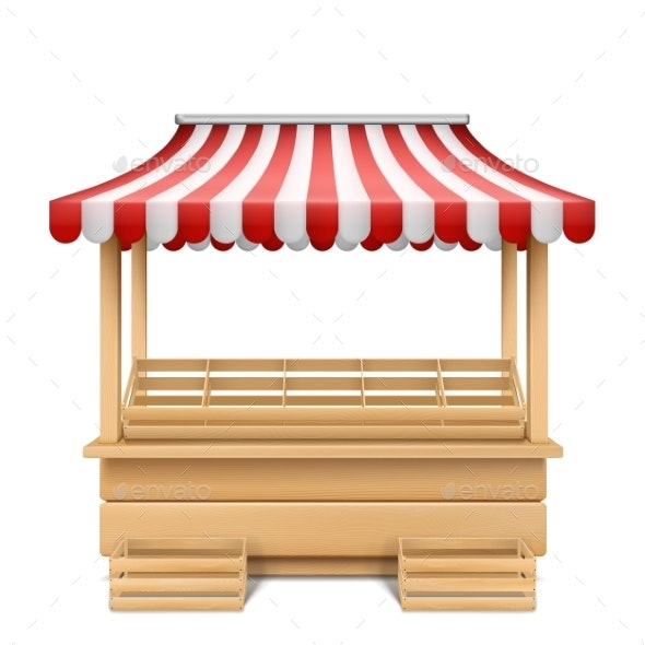 Vector Empty Market Stall with Striped Awning - Man-made Objects Objects