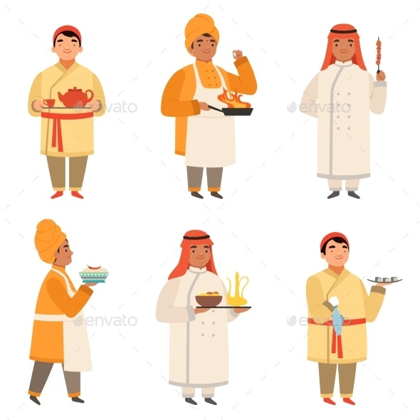 Traditional Cook Characters. Chef at Different - People Characters