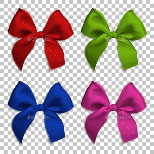 Realistic Bows and Ribbon Isolated - Man-made Objects Objects