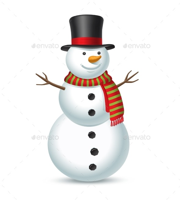 Snowman Isolated on White Background - Miscellaneous Characters