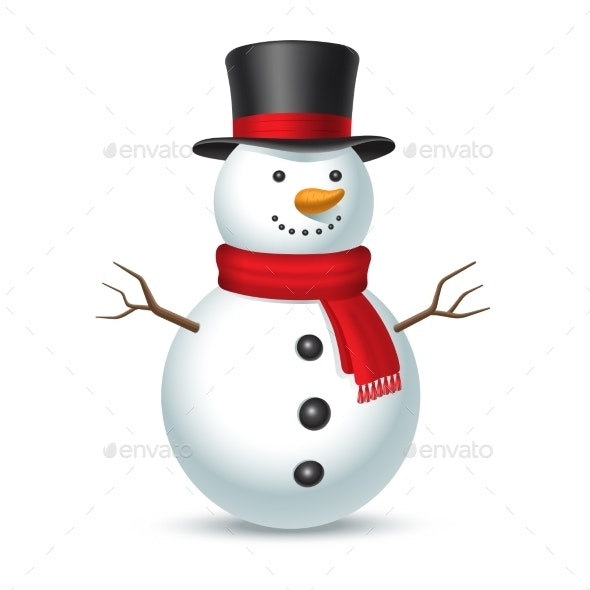 Snowman with Hat Isolated on White Background - Characters Vectors