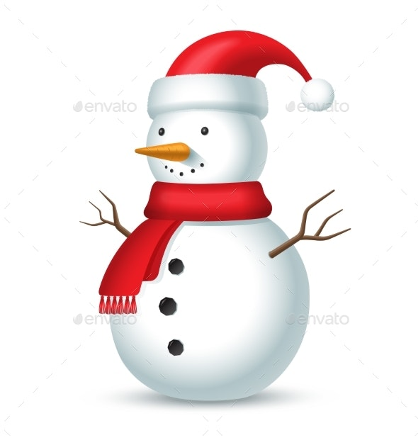 Snowman with Red Scarf and Hat - Miscellaneous Characters