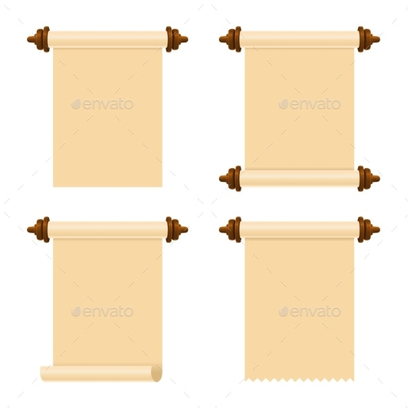 Ancient Paper Scrolls Set on White Background - Backgrounds Decorative