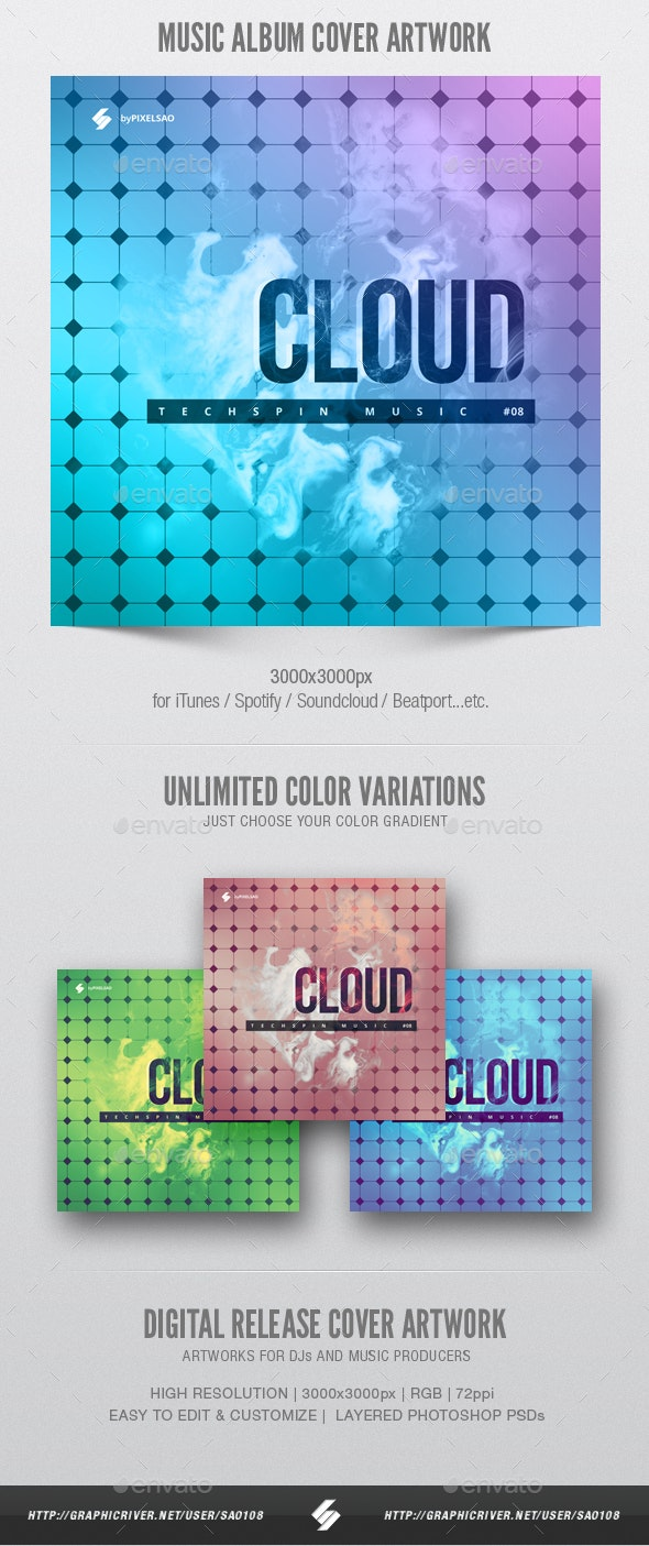 Cloud - Music Album Cover Artwork Template - Miscellaneous Social Media