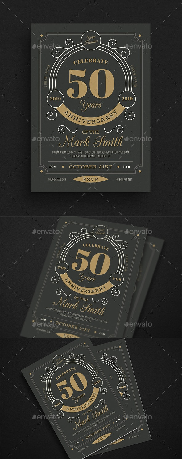 Vintage Anniversary Invitation/Flyer - Cards & Invites Print Templates