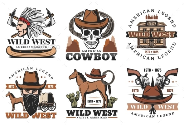 Wild West Icons, Cowboy and Horses - Man-made Objects Objects
