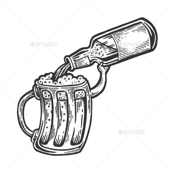 Cup Pours Beer From Bottle Engraving Vector
