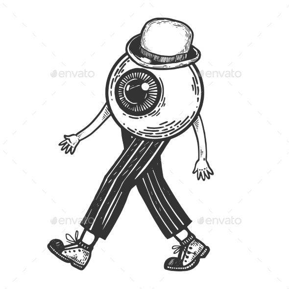 Human Eye Walks on Feet Engraving Vector - Miscellaneous Vectors
