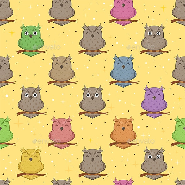 Seamless Background with Owls - Animals Characters