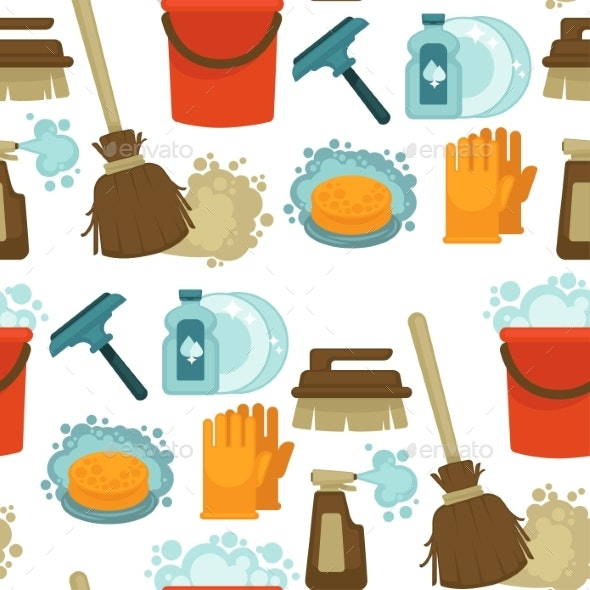 Cleaning Service, Tools and Instruments Seamless - Objects Vectors