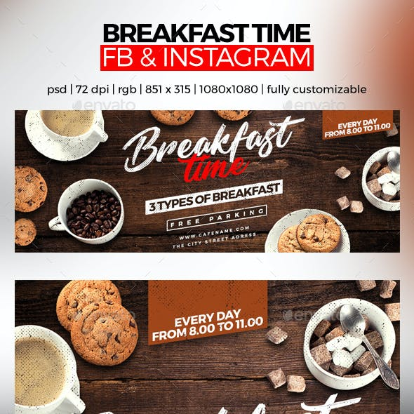 Breakfast Time Facebook Cover and Instagram
