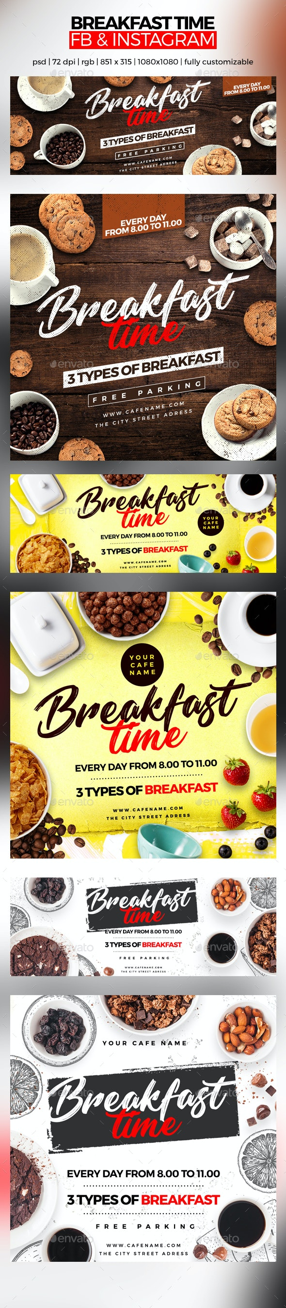 Breakfast Time Facebook Cover and Instagram - Social Media Web Elements