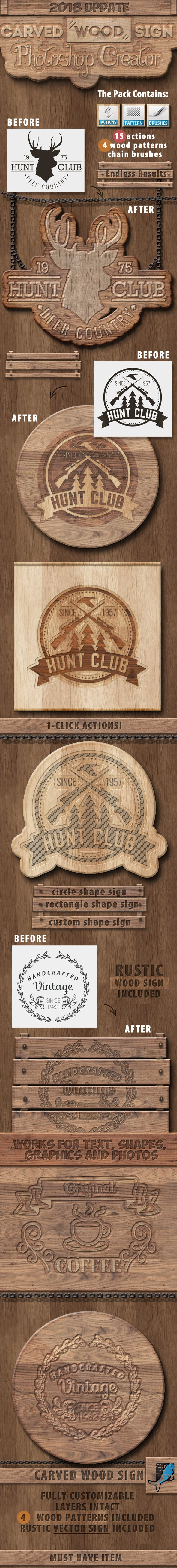 Carved Wood Photoshop Action - Utilities Actions