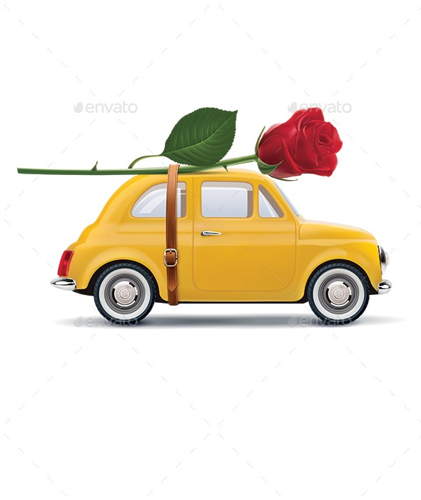 Retro Car With Red Rose - Travel Conceptual